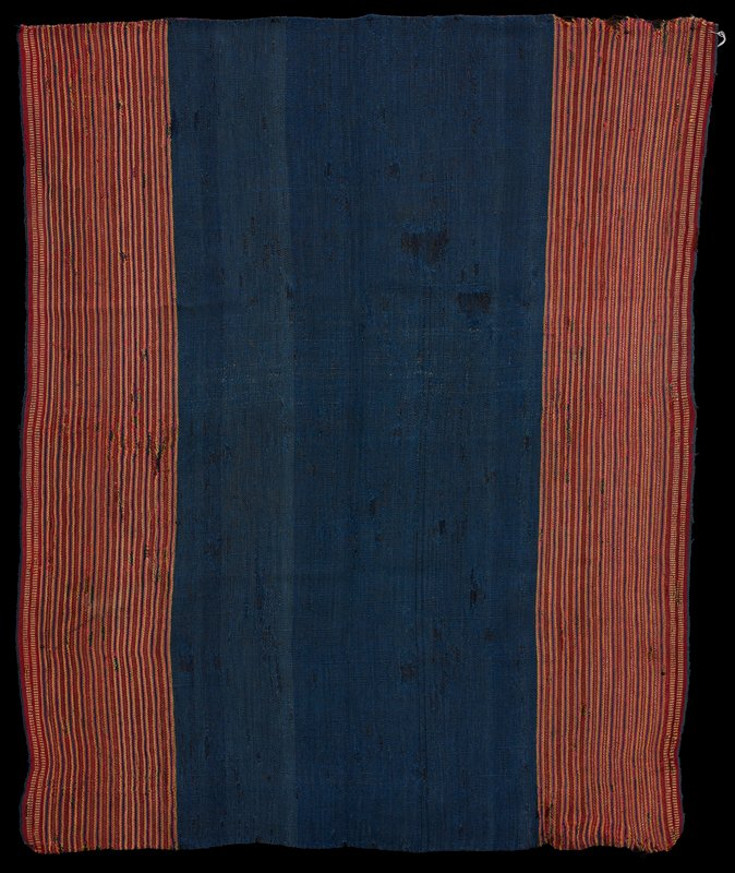 blue body; ends have thin stripes-red, pink, yellow, blue, brown; warp faced plain weave