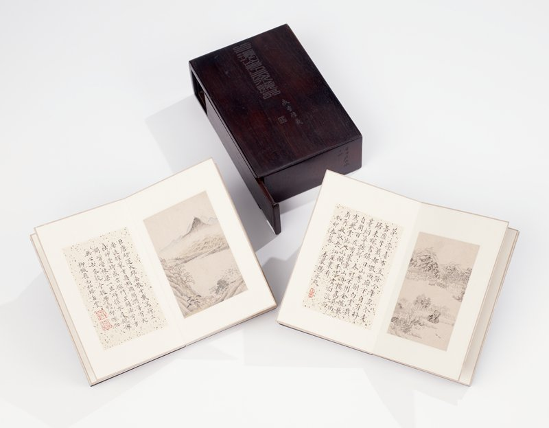 dark wood cover for double miniature landscape album set; sliding side door closure; inscriptions incised on cover and bottom