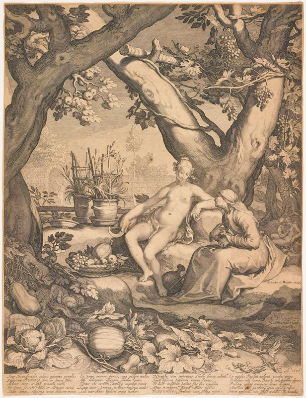woman and man seated at base of tree at center; woman unclothed; man masquerading as old woman with long dress and head wrap; figures surrounded by vegetation abundant with fruit, including, grapes, apples, pumpkins, cabbages and squash, among other flora; two figures embrace in background to R of man; pointing figure in background to L of center; four columns of text with 5 lines each at bottom of page; mated behind glass in brown wood frame