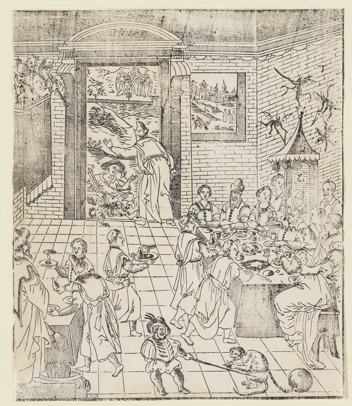 "interior scene; man seated at door holding crutches with two dogs possibly eating his leg; Christ also at door with five figures at each side; western style building through window; to L of doorway are men in balcony with musical instruments; at LC in foreground is table where food is being prepared and servants bring food to table at R; men and women in 17th century clothing around table at R; one-armed man at foreground holding a stick to chained monkey; four winged creatures at top R; three hold ""V"" shaped objects"