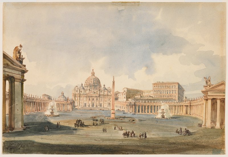 view of St. Peter's Basilica in Rome from entrance to Vatican Square-carriages, pedestrians and figures on horseback in foreground; two running fountains at middle ground