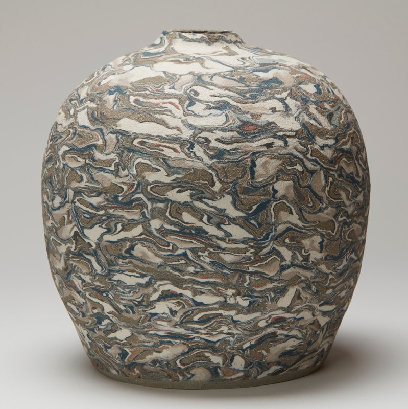 spherical vessel with neriage marbleized green and white clays