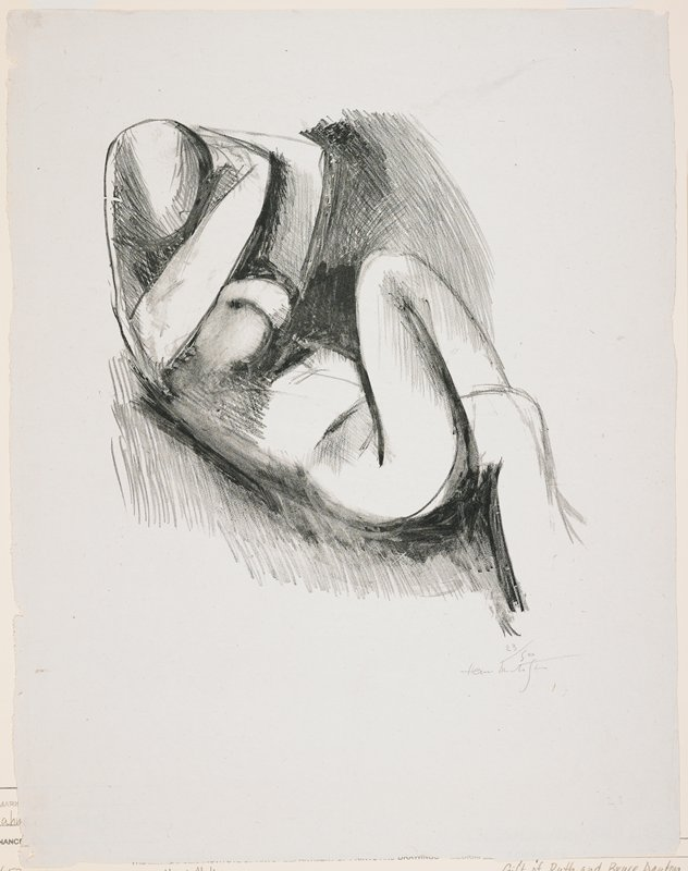 abstracted nude female figure, reclining with legs crossed and hands held to PL side of head