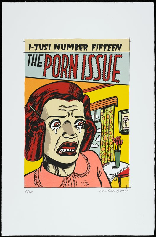 "cartoonish, brightly-colored image of crying horrified woman with frowning open mouth, wrinkled brow and stylized red hair, wearing pink dress; window with curtains, picture and vase of flowers in background at right; text at top: ""I-JUSI NUMBER FIFTEEN / THE PORN ISSUE"""
