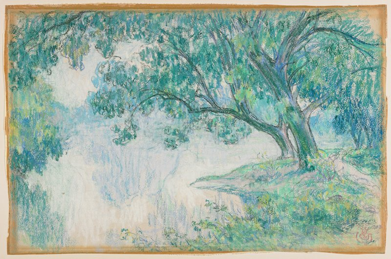 pastel in blues and greens; trees at right hanging over small lake; gray painted wood frame