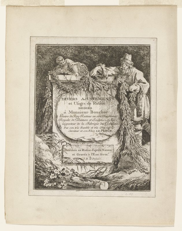 monument with reclining putti on top; man at right draping garlands of evergreens over top; woodland setting; long text on monument