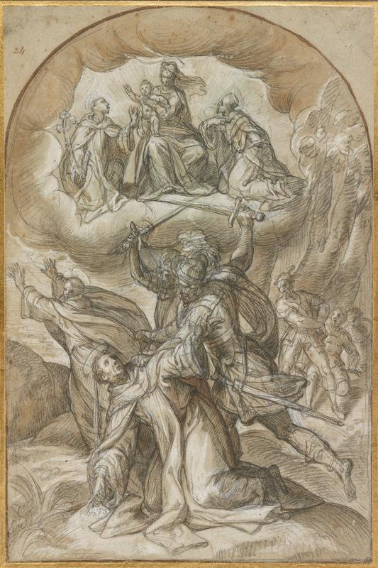 two soldiers with swords held overhead attacking a kneeling figure with a halo; another haloed figure with arms upraised, fleeing, at left; other soldiers in background at right; Madonna and Child at top center in clouds, with two kneeling figures; mounted on tan paper, edged in gold