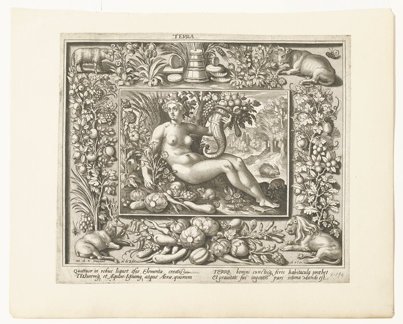 center image: seated nude woman holding horn of plenty and surrounded by fruits vegetables, small animals and flowers; trees in distance right; surrounding frame: in corners sheep, stag, bull and lion; along sides trees and vines loaded with fruit and flowers; wheat and bread along top, vegetables and fruit at bottom; from a series of four plates