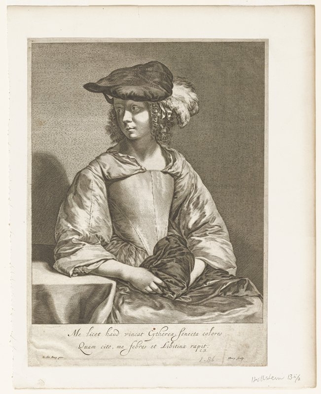 three quarter view; subject looking PR; hat with feathers; full sleeves; fabric wound around PL hand