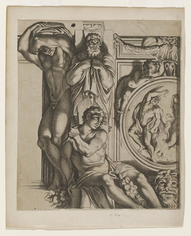 young man at left, standing, legs crossed, arms crossed over head; young man at center, semi-reclining leaning left; old man center (statue or pillar?), hands covered holding cloak; at right circular medallion with male figure and partial female figure; puti above with animal faces; human face at bottom