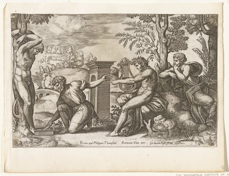 man tied to tree at left; man with knife in hand on one knee; man with lyre, seated, pointing; man seated at right; all figures in foreground; arched bridge left middle ground; gate with arch middle ground center; field with sheep left distance; trees at right middle ground; hills and fields at distance