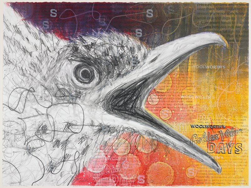 "sketch of a bird's head with beak open, in black and white; yellow, red, purple, orange ground with various sizes of text from ads for consumer products; text in LRC: ""WOOLWORTH'S Golden Value DAYS"""
