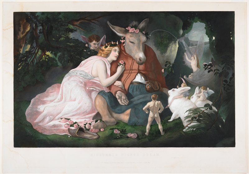 blonde woman wearing pink and silver dress (Titania) leaning on a man with the head of a donkey (Bottom), wearing a crown of pink roses; nude Puck at center, seen from back; fairies emerging from behind foliage and two fairies riding on white rabbits at right; winged figure peering over foliage behind woman