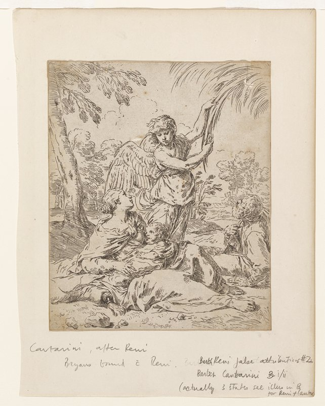 Holy family; mother reclining with child; male figure reclining behind them; angel standing behind family, pulling down a palm frond