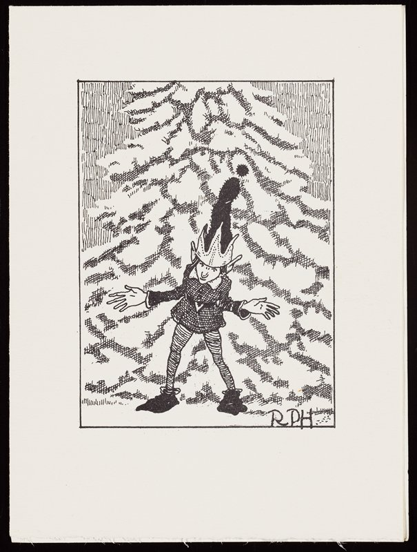 "white card printed in black; elf figure wearing tall fuzzy black cap with tall pointed brim; large feet and hands; snow-covered pine tree behind elf; printed text inside: ""Merry Christmas And a Happy New Year""; signed inside in black ink: ""Richard and Anne Holzschuh"", and address in blue ink: ""5335 Nicollet Ave Minneapolis Minn 55419"""