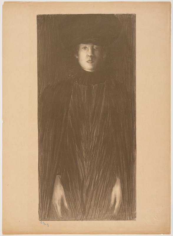 3/4 view of a standing woman wearing a large lozenge-shaped black hat, black cloak, and black dress with wide ruffled stand-up collar; lines of woman's garment in V's