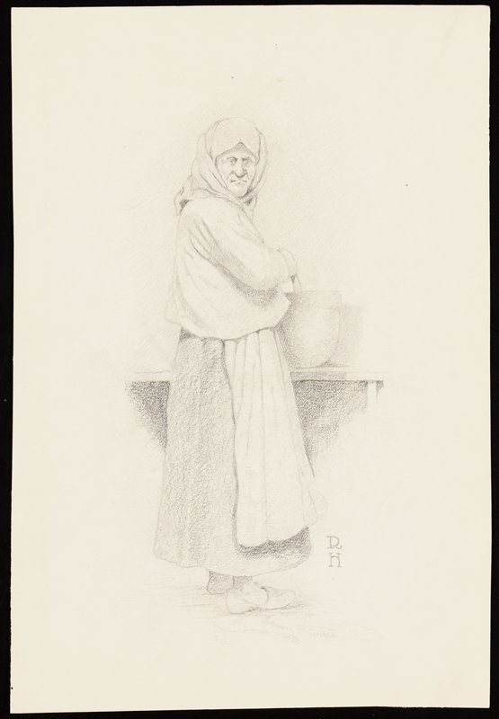 old woman wearing headscarf, long skirt and long apron, turned to face out of picture plane, stirring a large bowl