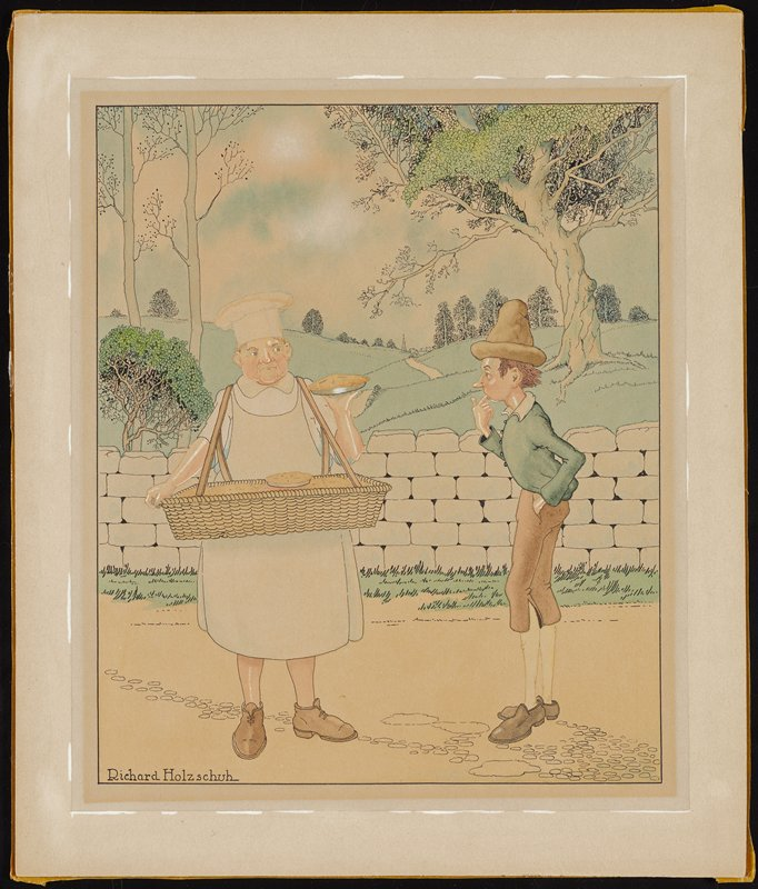 thin young man wearing blue jacket, tan knickers, white stockings and tan cap, looking at a pie held by a baker dressed in white, carrying a large basket with pies; landscape behind figures