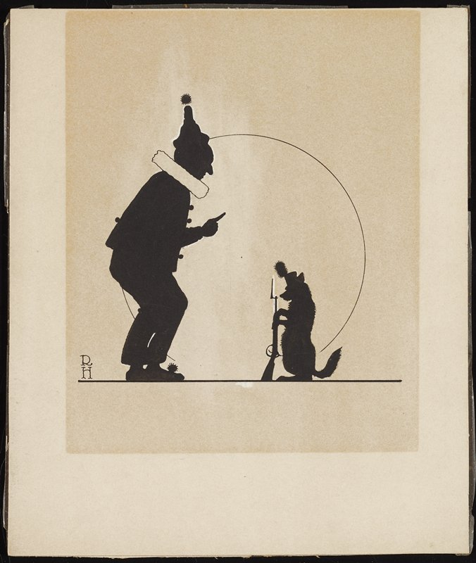 silhouettes of clown at left, with white collar, holding up one index finger; clown stands in front of dog on its hind legs, wearing a hat with a fuzzy plume and holding a rifle