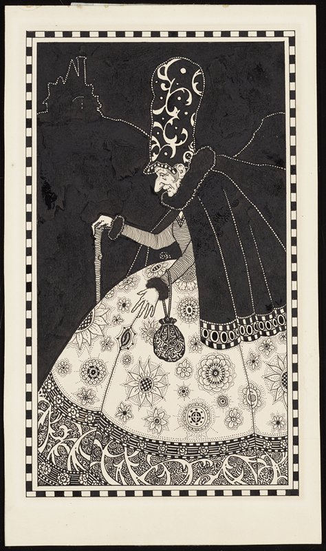 old woman in profile wearing a tall hat with a scrolling design, short black cape, and large long floral skirt; black ground with white linear silhouette of house in ULC