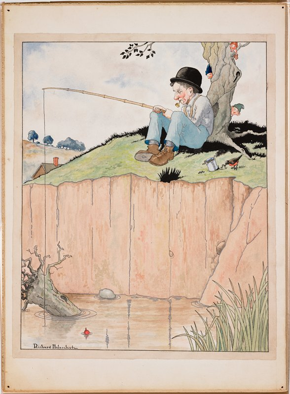 seated man, sleeping, wearing a bowler hat and smoking a pipe, fishing off of a steep bank; robin stealing worms out of can next to man; three elves peek around tree against which man leans; painted on heavy board with cover sheet pasted to back at top edge