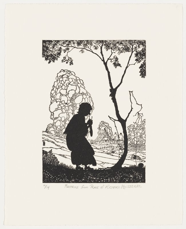 silhouette of old woman knitting a sock, facing a personified tree in silhouette, which holds the woman's yarn; stylized trees and cottage in background; restrike, numbered 10/14