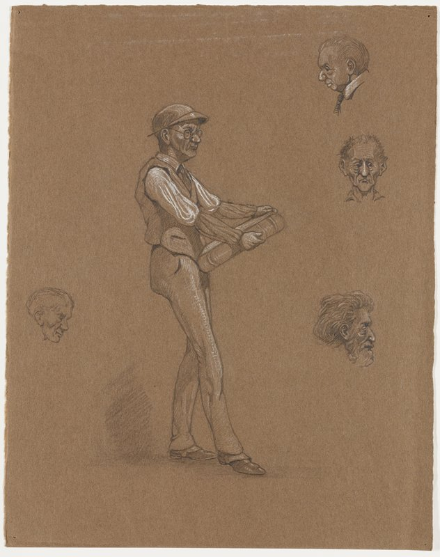 central sketch of a standing man wearing glasses, visor and vest, carrying a very large book; three small head studies at right, one at left