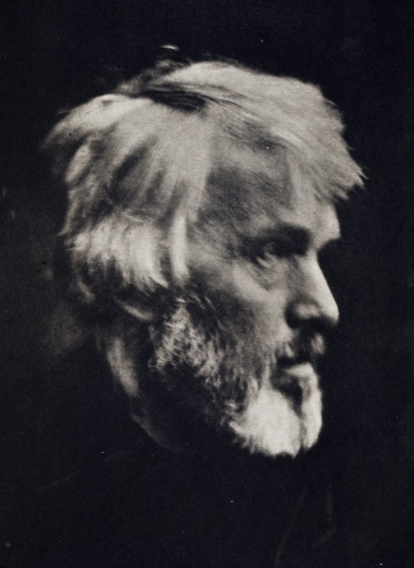 close up of face of bearded, white-haired Thomas Carlyle