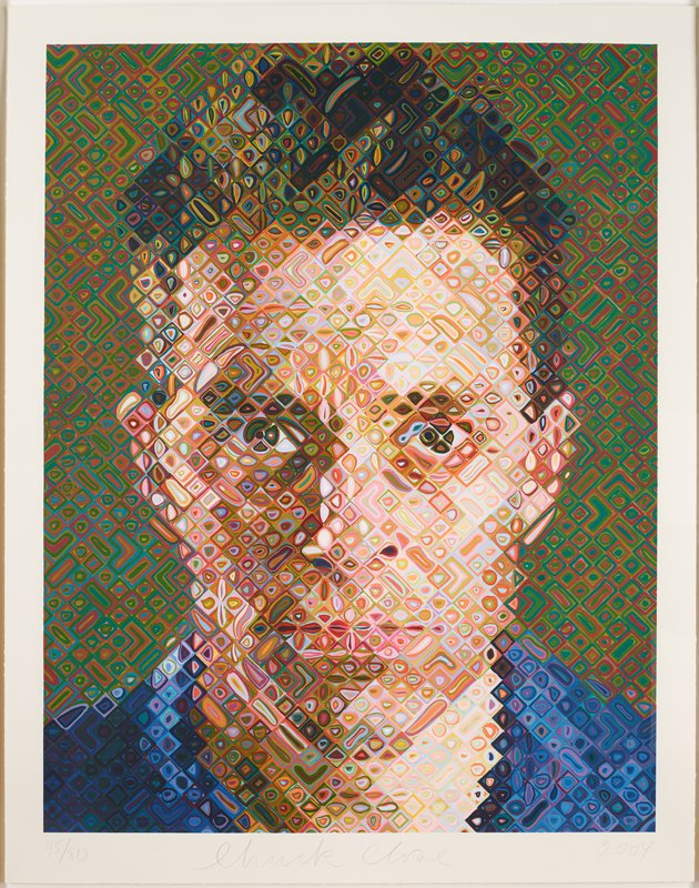 portrait of the artist James Siena wearing a blue shirt, with a serious facial expression, made up of chevrons, rectangles, and diamonds filled with smaller organic shapes of various colors