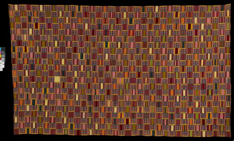 22 panels of multicolored striped squares