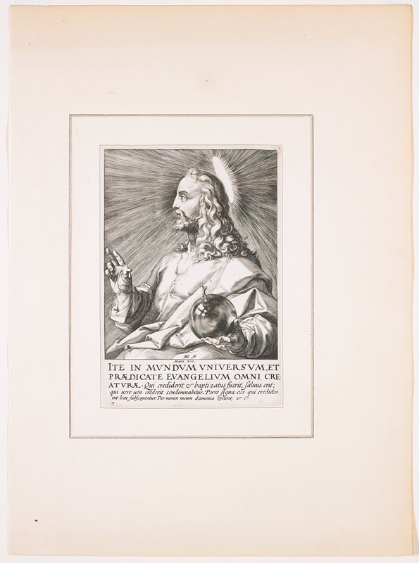 Christ as Salvator Mundi, in profile from PL, with long curly hair and short wavy beard; Christ has halo and holds his PR hand in blessing gesture, with an orb with a cross in his PL hand; text at bottom