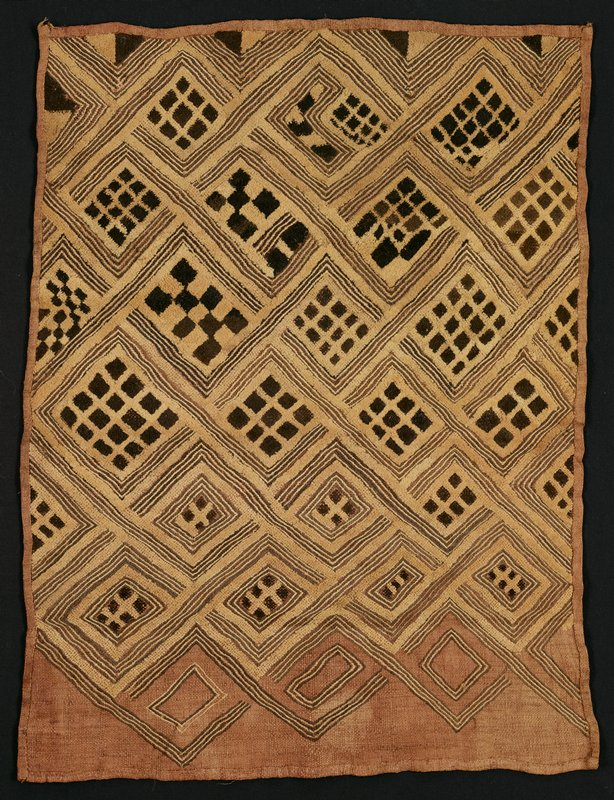 unfinished panel; medium tan ground with light tan and dark brown pile fibers and flat stitching; geometric patterns with grids inside rectangles, bordered by linear bands; received framed, unglazed