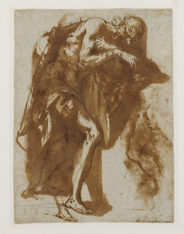 recto: two figure sketches; figure at right faces left, turned 3/4, with head down and wrists bound; figure at left faces right, bent forward at the waist, wrists bound; cloudy wash overall; cloudy third figure at top center--bleeding through from back of sheet; verso not examined--received framed