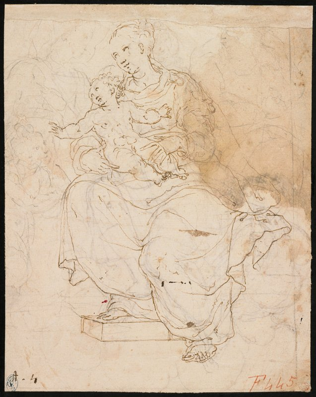 recto: seated Madonna and Child; Mary has bare feet, with PR foot resting on a riser; nude Christ child with arms spread outward; other sketchy figure studies in black chalk around main figures; verso: John seated on clouds accompanied by a large bird at right; John is writing on a tablet; long curly hair; sheet affixed to mount with black tape on recto and verso