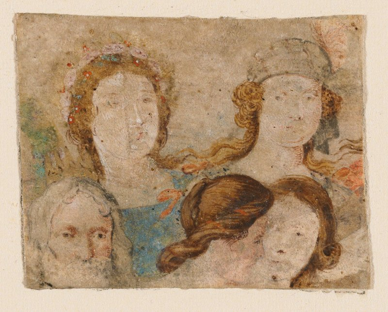 five faces; clockwise from LLC: man with long grey hair and grey beard, woman wearing wreath with red flowers, woman wearing a headscarf (?) with a pink feather, woman with large curl over PL ear, woman in profile with brown hair
