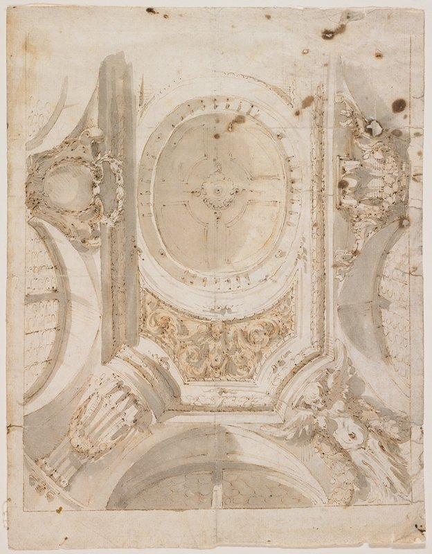 architectural study of ceiling with figures in spandrel in LRC and at bottom center below central ovoid element, and with various scrolls and swags