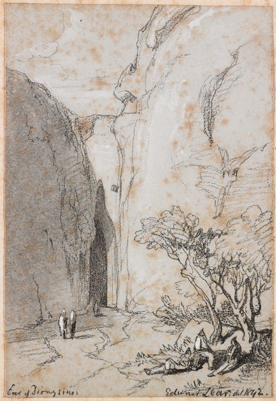 landscape; very tall rock formations forming a narrow cave/grotto left of center; three figures under trees, LRC; two standing figures in LLQ