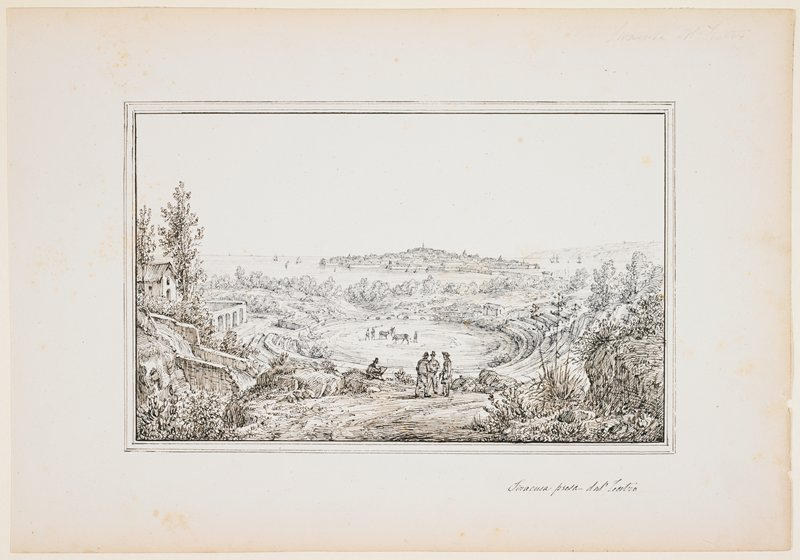 ruins, an ancient theater with semicircular descending rows of seating; water in distance with sailboats; island with buildings in center backgroundt; foliage and buildings in foreground, with four figures--three standing and one seated, drawing