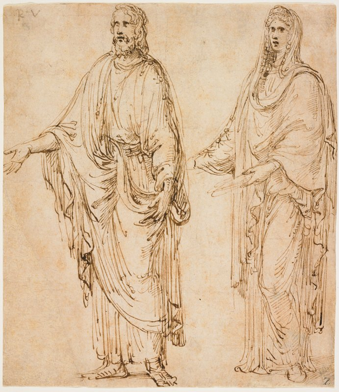 two standing figures--male on left, female on right; each figure has PR arm held out in front of them; both figures heavily draped; man has curly shoulder-length hair and beard and wears sandals; woman has long curly hair covered with headscarf; verso: light sketch of a face