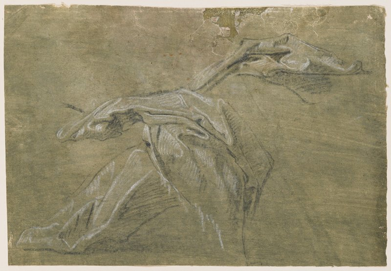 study of drapery folds in roughly an X shape