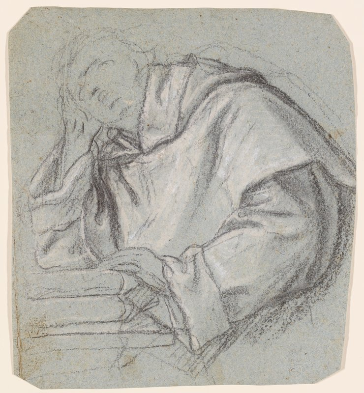 head and torso of a man wearing a heavy garment, with PR elbow resting on a stack of books, head in hand; PL hand also rests on books; face sketchy--drapery study; corners clipped