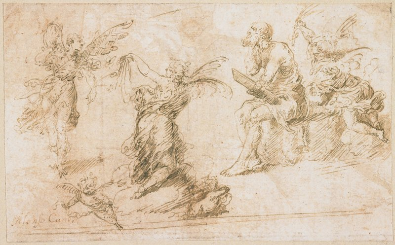 five sketches--four of seated men; sketch in ULC of a man seated, holding a pen, accompanied by a small angel; sketches at bottom center and LLC of seated men holding pens and tablets; sketch in LRC of a standing man with a pen; seated man in URC