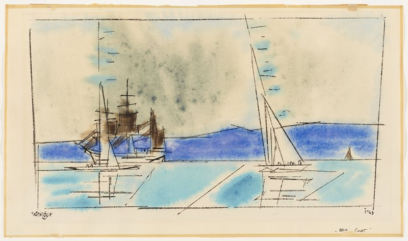 linear sketch of three boats--two in foreground, one in far right background; large boat at left has grey sails; white sailboat at right in foreground; sailboat in background has grey sails; light blue water, dark blue far shoreline; greyish sky