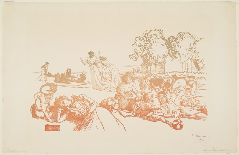 people relaxing outdoors; mother, father and child with ball in LRQ; reclining woman with child wearing straw hat, LLC; herd of cows at left middle ground; trees and buildings, URC; printed in graduated tones of green and rust red