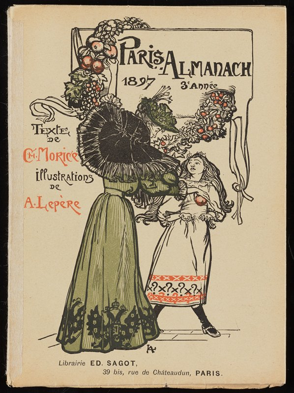 softcover book with text and color images of fashionable ladies; cover image of woman in green dress and hat wearing large black hat, picking an orange off a garland and handing it to a girl wearing a white dress with orange and black trim
