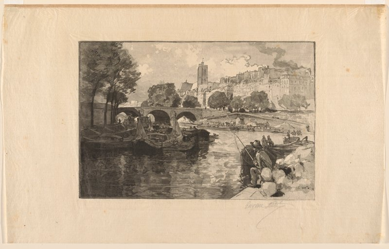 river view; boats clustered together at left; man fishing, LRC; bridge with arches in middle ground at center; buildings, URQ