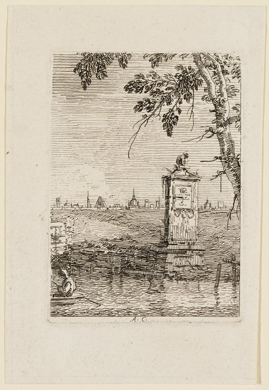 small upright stone monument at water's edge with triangular top with a sculpture of a crouching figure; figure with oar in back of boat at left; tree in URQ; city buildings in distance