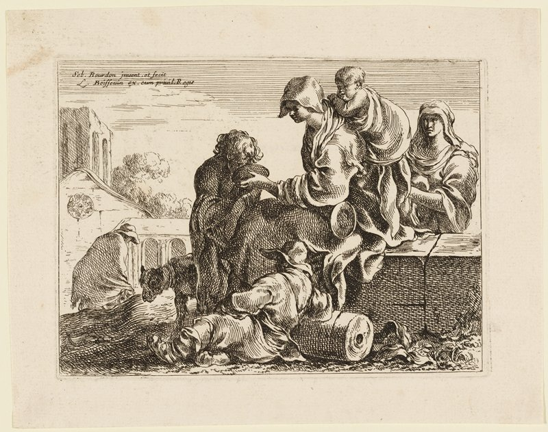 woman seated on blocks with a baby tied to her back, holding a bowl from which a young boy is drinking; another woman in URC; reclining figure in front center, leaning on a cylindrical object; dog behind drinking boy; hunched figure, LRC, in middle ground