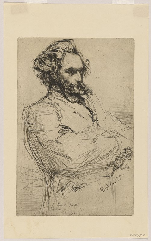 head (fully realized) and torso (sketched) of man in 3/4 view, with arms crossed; man has long disheveled hair and small beard