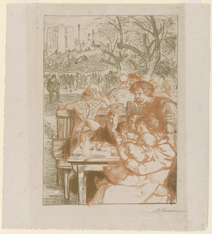 two women seated at a table outdoors with a standing man with a moustache, holding a bottle, at right; woman in foreground holds a glass for the baby on her lap to drink; other figures in middle ground and background, including a girl wearing a checked blouse leaning over the back of a bench, seen from back; printed in salmon pink and green